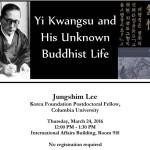 """March 24 – """"Yi Kwangsu and His Unknown Buddhist Life"""""""