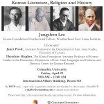 """April 22 – """"Buddhist Writers in Colonial Korea"""""""