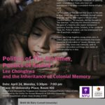 "April 24 ""Politics of the Stammer, Poetics of Sound: Lee Chonghwa and the Inheritance of Colonial Memory"""