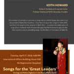 "April 17 ""Songs for the 'Great Leaders': Ideology and Political Agitation in the Music of North Korea"""
